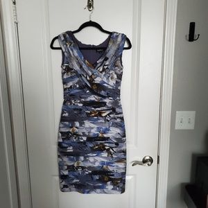 Adrianna Papell Blue Pleated Cocktail Dress.